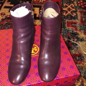 Tory Burch maroon Laila 50MM bootie/calf leather